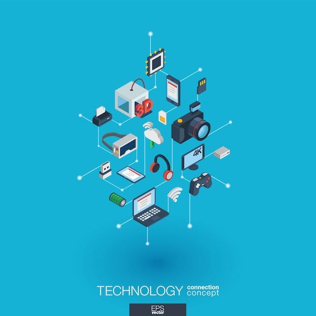 Ikony Sieci Web Zintegrowanej Technologii. Koncepcja Interakcji Izometrycznej Sieci Cyfrowej. Połączony Graficzny System Kropkowo-liniowy. Tło Z Bezprzewodowym Drukowaniem I Wirtualną Rzeczywistością. Infograf Premium Wektorów