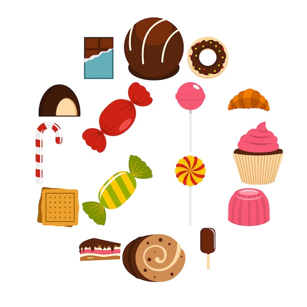 Ikony słodycze i cukierki w stylu płaski Premium Wektorów