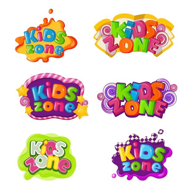 Ikony strefy dzieci z napisami z karmelem Premium Wektorów
