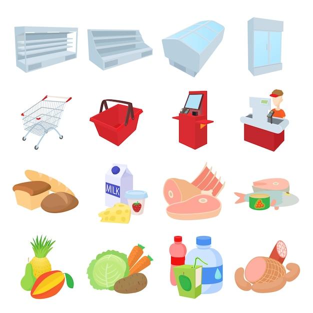 Ikony Supermarketu W Stylu Cartoon Wektor Premium Wektorów