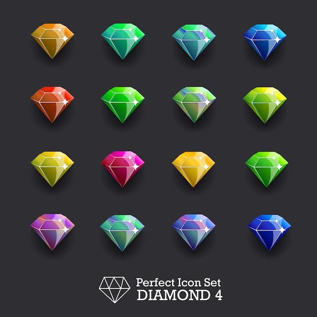 Ikony świecące klejnoty, diamenty Premium Wektorów