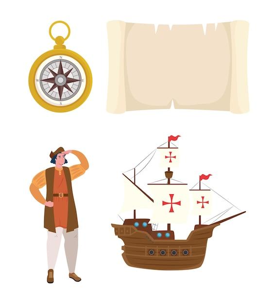 Ikony, święto Narodowe Usa Szczęśliwy Columbus Day Premium Wektorów