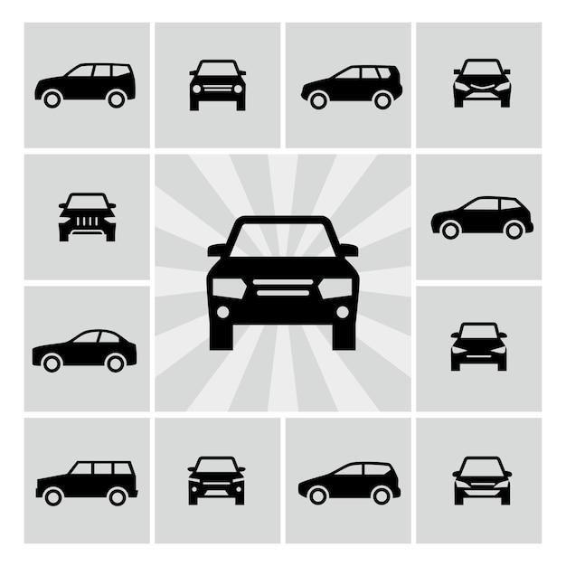 Ikony Sylwetki Z Boku I Przodu Samochodu Premium Wektorów