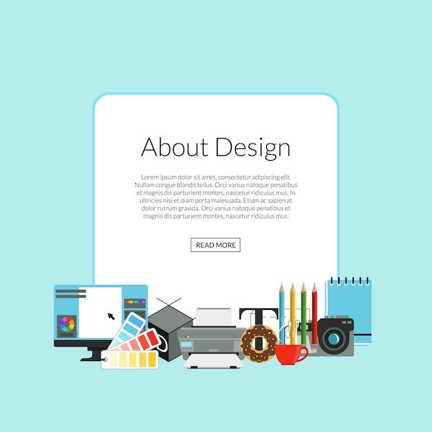 Ikony sztuki projektowania cyfrowych stos poniżej ramki z miejscem na tekst Premium Wektorów