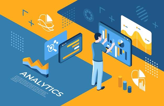 Ikony technologii analizy wirtualnej rzeczywistości z ludźmi Premium Wektorów
