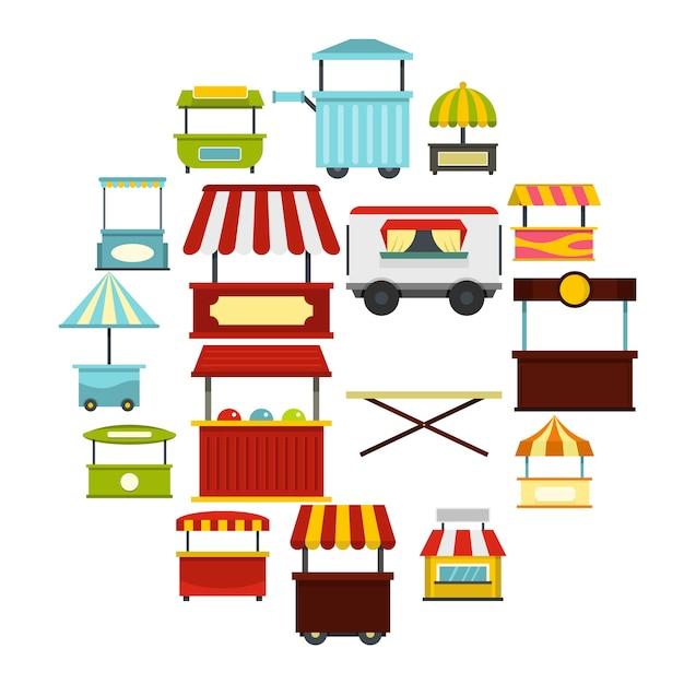 Ikony Ulicy żywności Ciężarówka Zestaw W Stylu Płaski Premium Wektorów