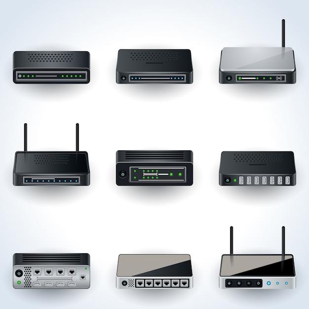 Ikony urządzeń sieciowych. modemy, routery, piasty realistyczne zbiory ilustracji wektorowych Premium Wektorów