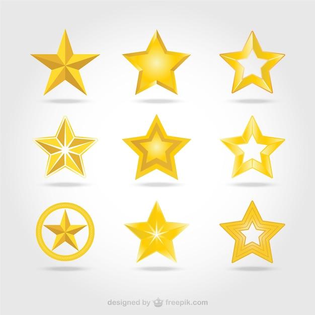 Ikony wektor złote gwiazdki Darmowych Wektorów