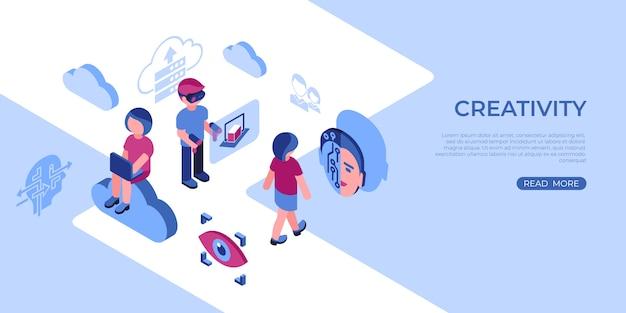Ikony wirtualnej rzeczywistości i kreatywności z ludźmi Premium Wektorów