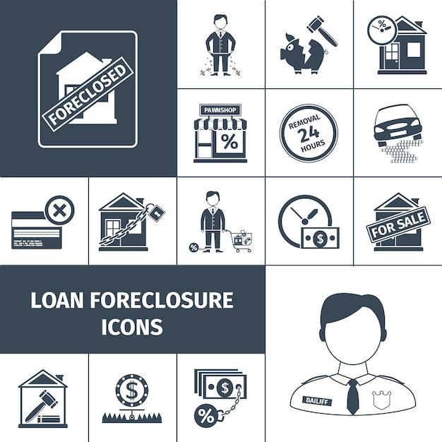 Ikony Wykluczenia Pożyczki Czarny Premium Wektorów