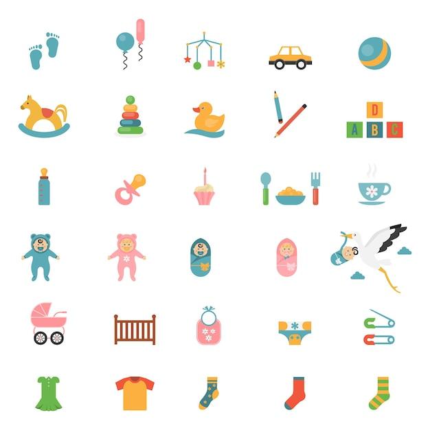 Ikony Zabawek Dla Niemowląt Na Temat Niemowląt I Ich Akcesoriów. Darmowych Wektorów