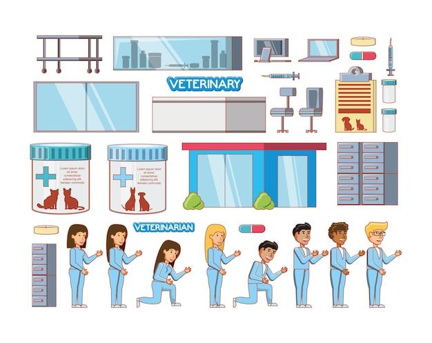 Ikony Zestaw Usług Weterynaryjnych Premium Wektorów
