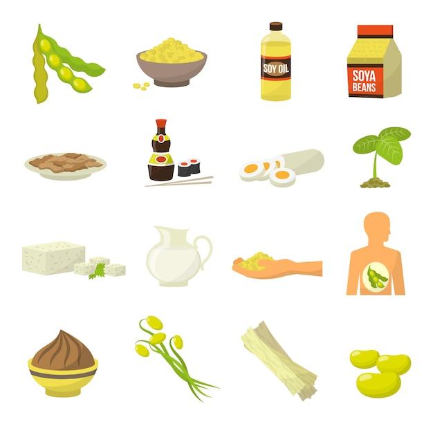 Ikony żywności Sojowej Premium Wektorów