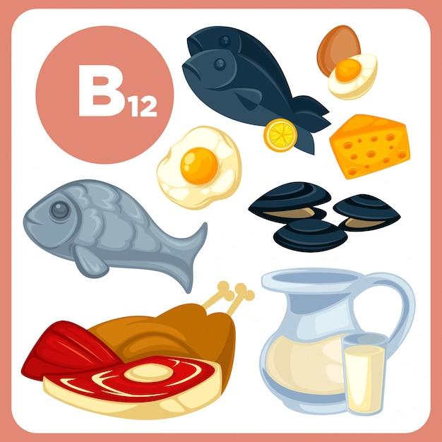 Ikony żywności z witaminą b12. Premium Wektorów
