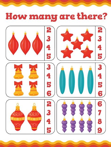 Ile Jest Gier Edukacyjnych Dla Maluchów Z Dekoracją Choinkową. świąteczny Arkusz Roboczy Dla Dzieci W Wieku Przedszkolnym Lub Przedszkolnym. Ilustracja Premium Wektorów