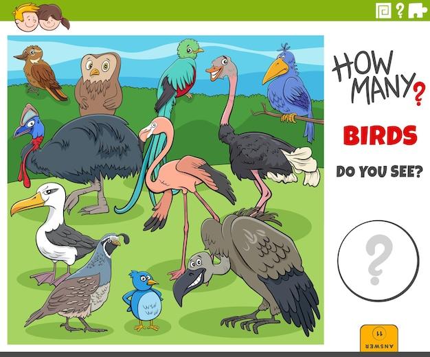 Ile Ptaków Gra Edukacyjna Z Kreskówek Dla Dzieci Premium Wektorów