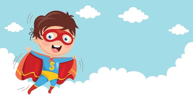 Illlustration of superhero kid Premium Wektorów