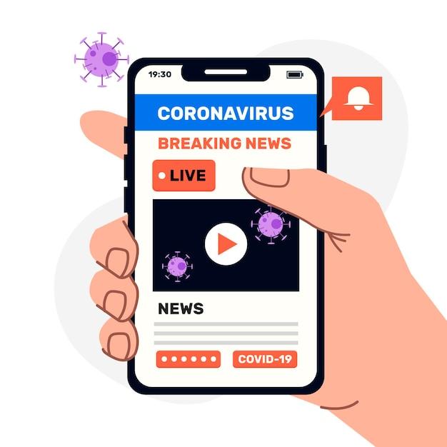 Ilustracja Aktualizacji Koronawirusa Premium Wektorów