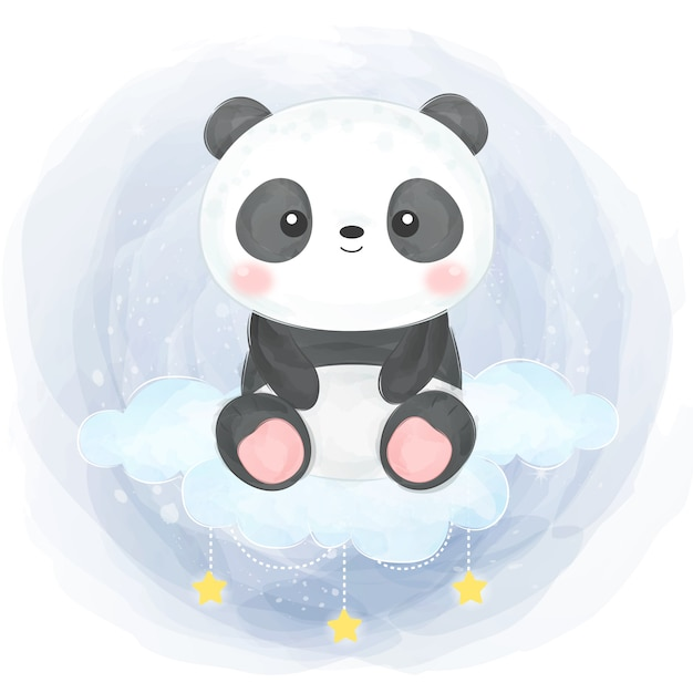 Ilustracja Akwarela Dziecko Panda Premium Wektorów