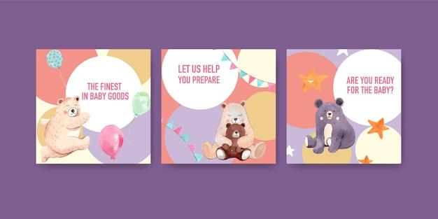 Ilustracja Akwarela Karty Baby Shower Darmowych Wektorów
