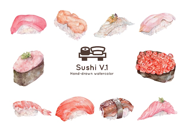 Ilustracja Akwarela Sushi Premium Wektorów