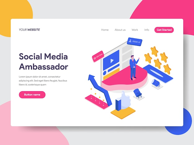 Ilustracja Ambasadora Mediów Społecznościowych Na Stronach Internetowych Premium Wektorów