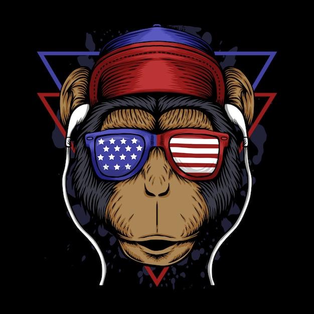 Ilustracja Ameryka Małpa Premium Wektorów
