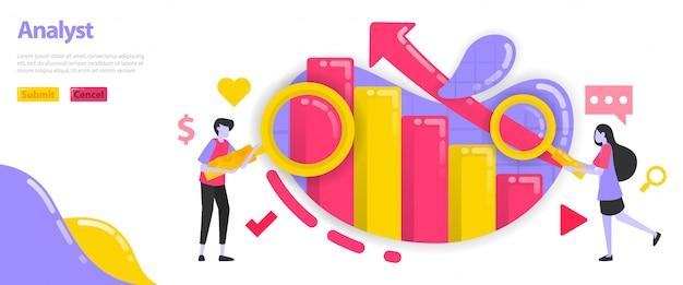 Ilustracja analityczna i graficzna. wykresy, które rosną i rosną wraz ze strzałkami do analizy. Premium Wektorów