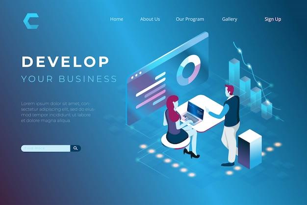 Ilustracja Analizy Danych I Pracy Zespołowej W Izometrycznym Stylu 3d Premium Wektorów
