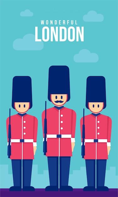 Ilustracja armii płaskiej plakat londynu Premium Wektorów