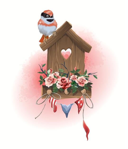 Ilustracja Artykuły Gospodarstwa Domowego Ptaszarnia, Ptak Siedzący I Małe Flagi świąteczne Ozdobione Kwiatami. Premium Wektorów