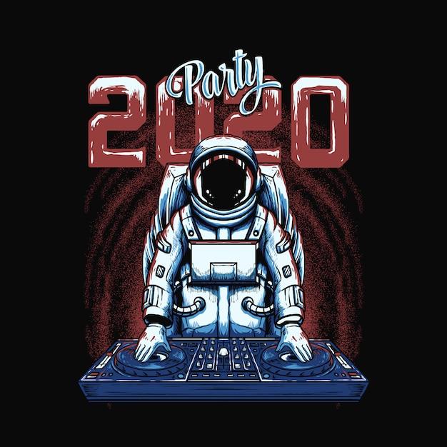Ilustracja Astronauta Dj Premium Wektorów