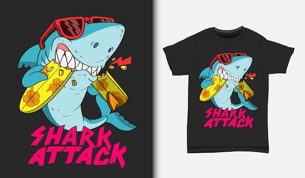 Ilustracja Ataku Rekina Surfowania Z T-shirt Design, Wyciągnąć Rękę Premium Wektorów