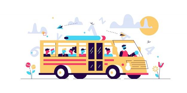 Ilustracja Autobus Szkolny. Koncepcja Małych Uczniów Transportu Osób. Klasyczna Furgonetka Studencka W Drodze Do Szkoły, College'u Lub Podstawówki. Regularne Publiczne Usługi Drogowe Dla Dzieci Premium Wektorów