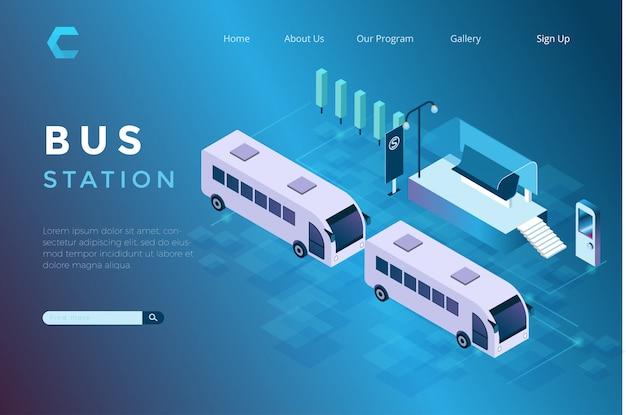 Ilustracja Autobusowy Parking Przy Schroniskowym Isometric 3d Stylem Premium Wektorów