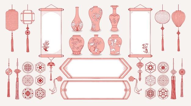 Ilustracja Azjatyckich Wiszących Zwojów, Lampionów, Wazonów Ceramicznych, Tradycyjnych Wzorów I Dekoracji. Premium Wektorów