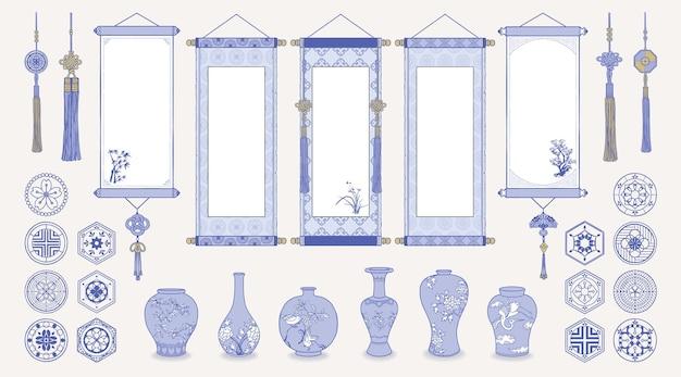 Ilustracja Azjatyckich Wiszących Zwojów, Wazonów Ceramicznych, Tradycyjnych Wzorów I Orientalnych Dekoracji. Premium Wektorów