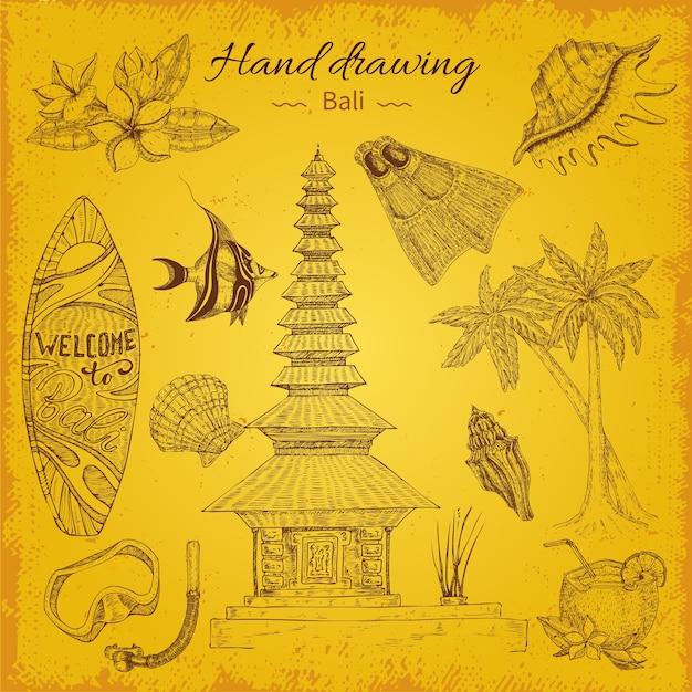 Ilustracja Balijski Rysunek Ręka Darmowych Wektorów