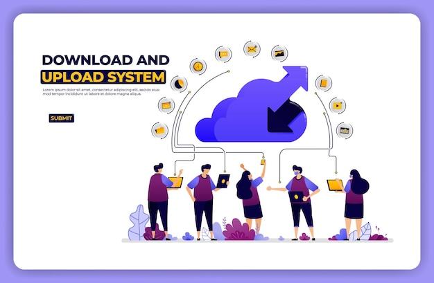 Ilustracja Banera Systemu Pobierania I Wysyłania. Udostępnianie Sieci W Chmurze. Premium Wektorów
