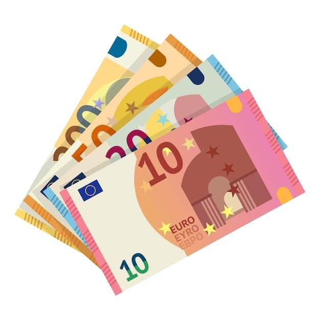 Ilustracja Banknotów Euro. Europejska Waluta Pieniądze, Papierowe Banknoty Clipart Na Białym Tle. Dziesięć, Dwadzieścia, Pięćdziesiąt Euro Gotówki. Kapitał, Zmiana, Płatność Premium Wektorów