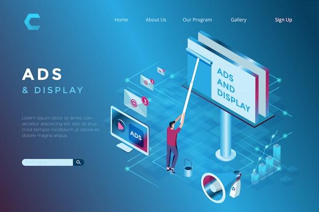 Ilustracja Billboard Reklamy W Isometric 3d Stylu Premium Wektorów