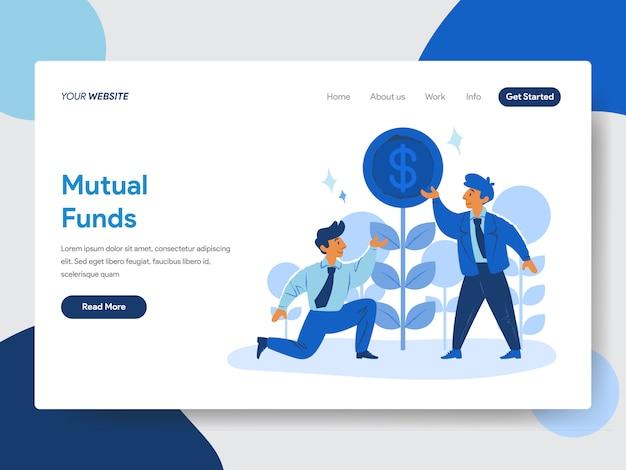 Ilustracja biznesmen i wzajemnych funduszy na stronach internetowych Premium Wektorów