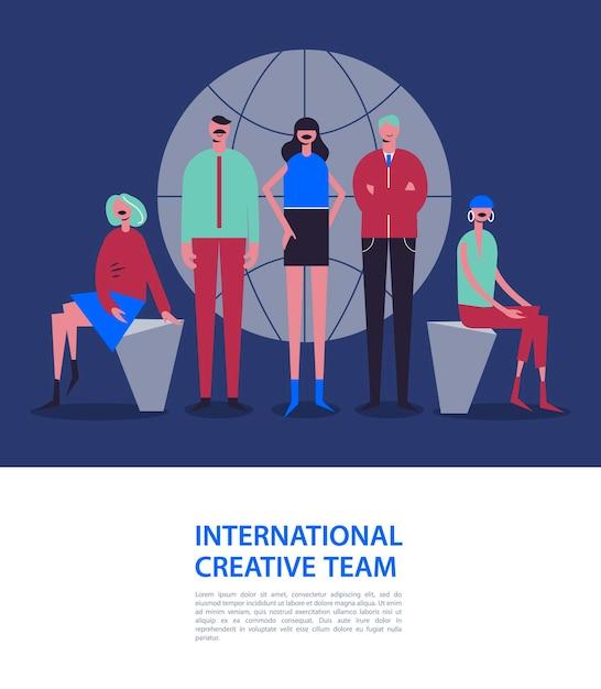 Ilustracja Biznesowa, Stylizowane Postacie. Biznesowa Ilustracja. Mężczyźni I Kobiety W Pobliżu świata. Międzynarodowy Zespół, Sieć Społecznościowa Premium Wektorów