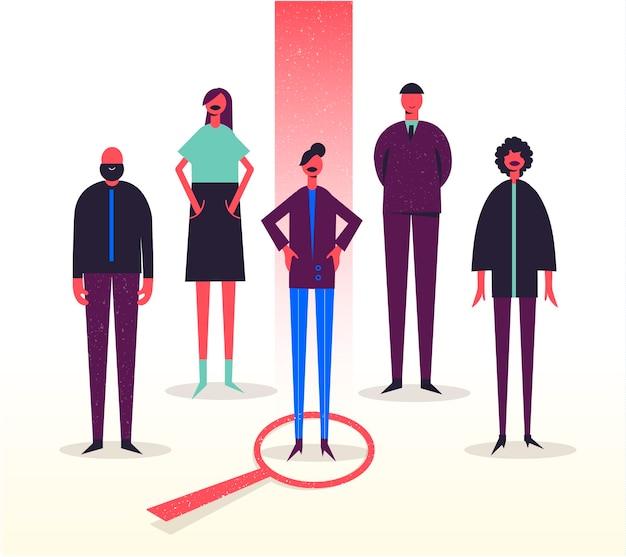 Ilustracja Biznesowa, Stylizowane Postacie. Rekrutacja, Polowanie Na Głowy, Poszukiwanie Pracy. Wybór Jednego Spośród Innych. Kobieta Premium Wektorów