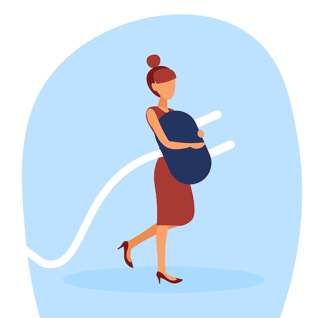 Ilustracja bizneswoman trzyma elektryczną prymkę Premium Wektorów