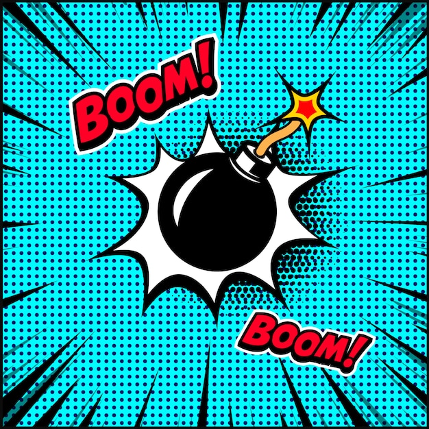 Ilustracja Bomby W Stylu Komiksu. Element Plakatu, Banera, Ulotki. Ilustracja Premium Wektorów