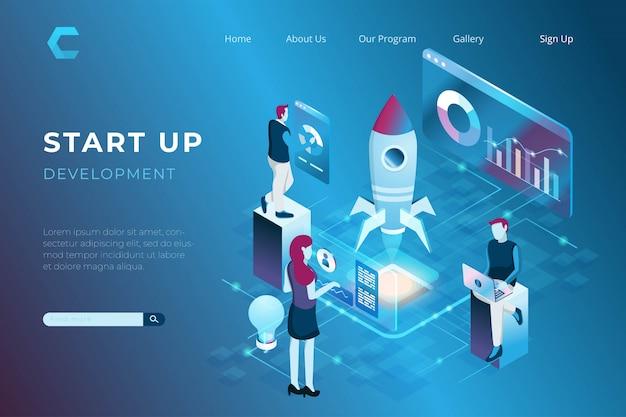 Ilustracja Budować Startup Z Szybowniczym Rakietowym Symbolem, Ilustracja Praca Zespołowa W Isometric 3d Stylu Premium Wektorów