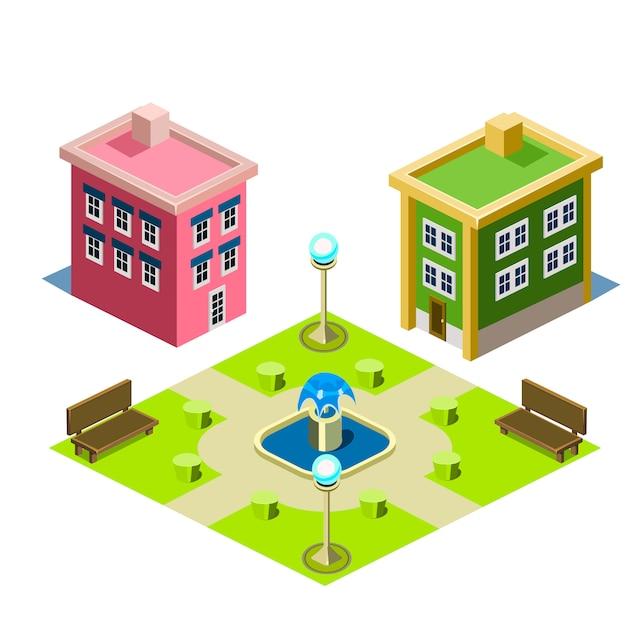 Ilustracja Budynku Domu I Parku Premium Wektorów