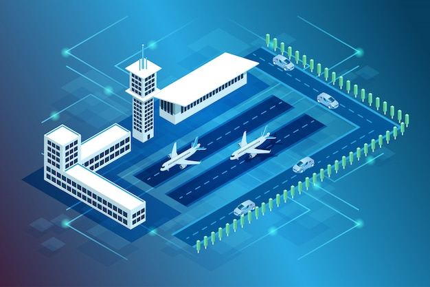 Ilustracja Budynku Lotniska Międzynarodowego Oraz Lądowania Samolotu I Samolotu W Izometrycznym Stylu 3d Premium Wektorów