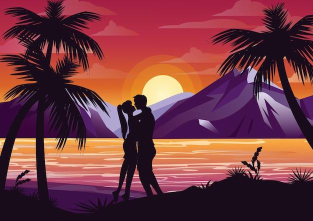 Ilustracja Całuje Sylwetka Para Na Plaży Pod Palmą Na Tle Zachodu Słońca I Góry W Stylu Płaski. Premium Wektorów